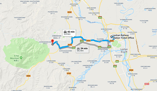 Leshan to Emeishan Driving Map