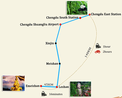Chengdu to Leshan Transportation Map