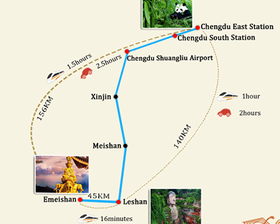 Chengdu to Mount Emei Travel Map