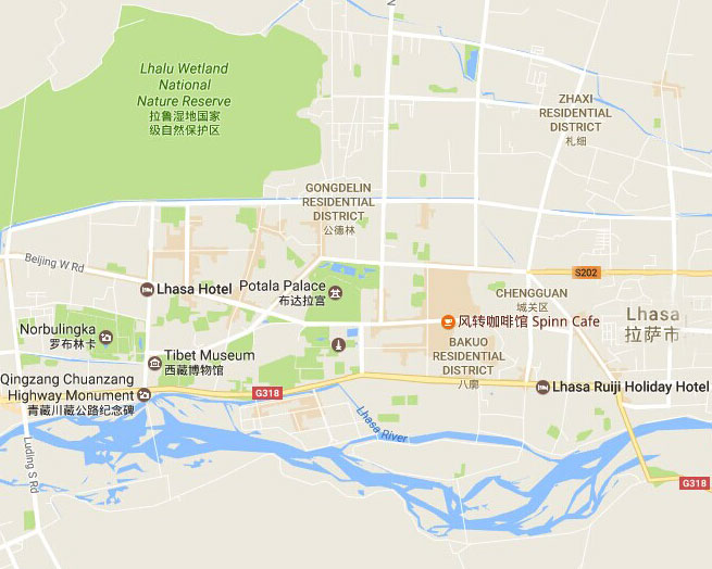 Lhasa City Map