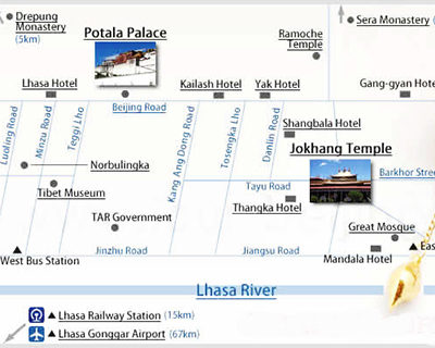 Lhasa Travel Map