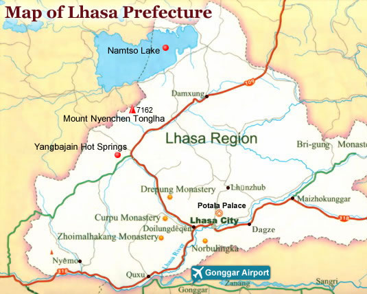 Map of Lhasa rigion