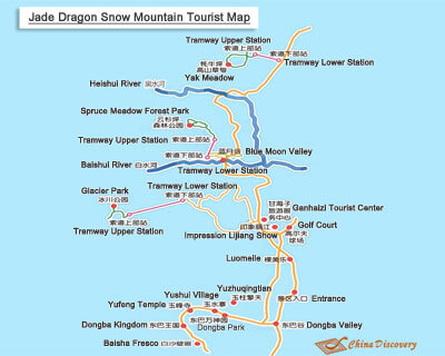 Jade Dragon Snow Mountain Tourist Map