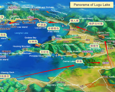 Lugu Lake Panorama Map