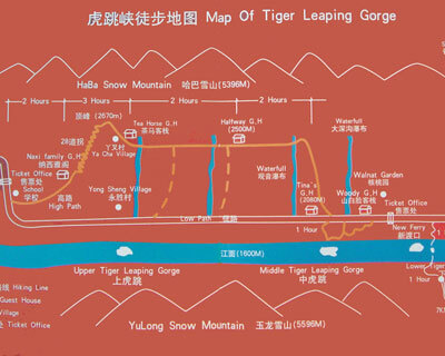 Tiger Leaping Gorge Hiking Map