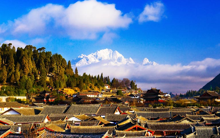 Lijiang Old Town Full View from Wangu Tower