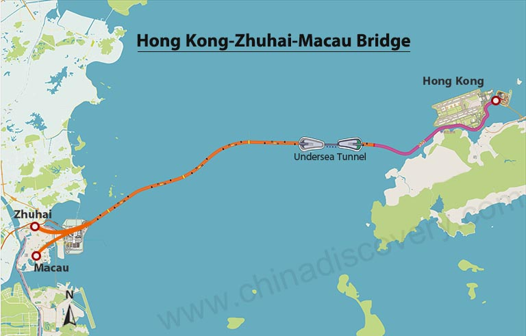 Hong Kong - Zhuhai - Macau Bridge Map