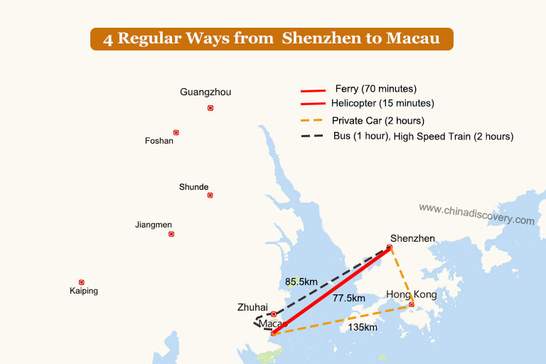 Shenzhen to Macau Transport Map