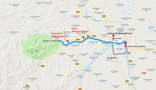 Leshan to Mount Emei Travel Map