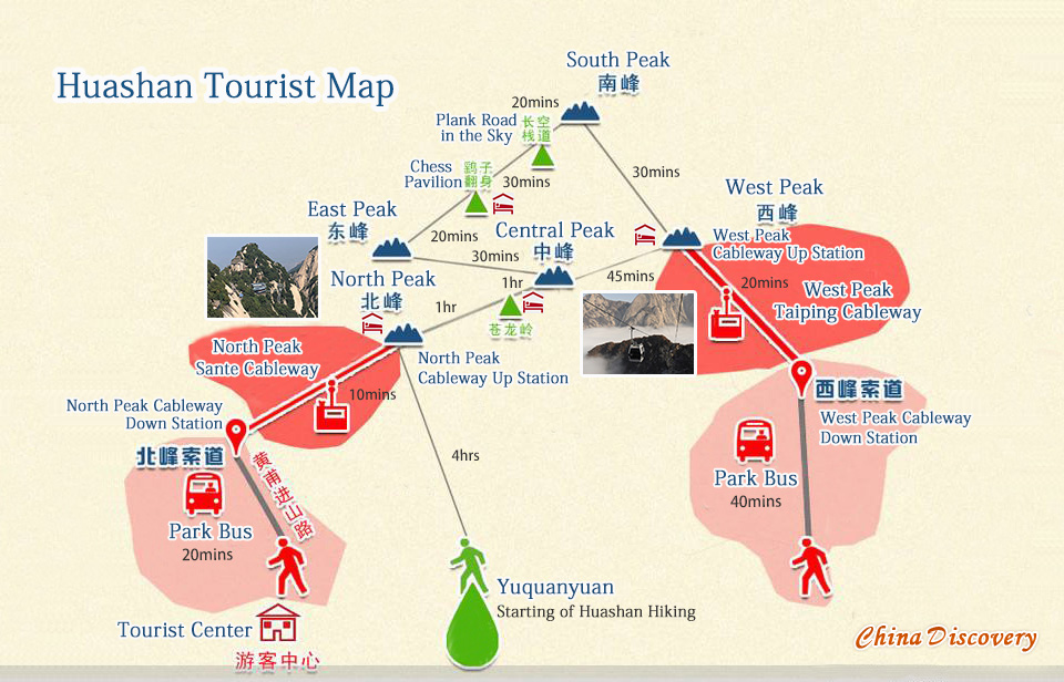 Mount Huashan Hiking Trail Map