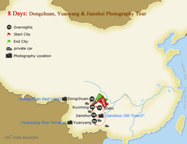 8 Days Dongchuan, Yuanyang & Jianshui Photography Tour Map