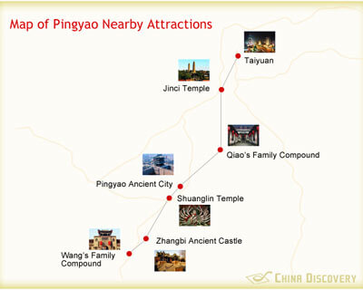 Map of Pingyao Nearby Attractions
