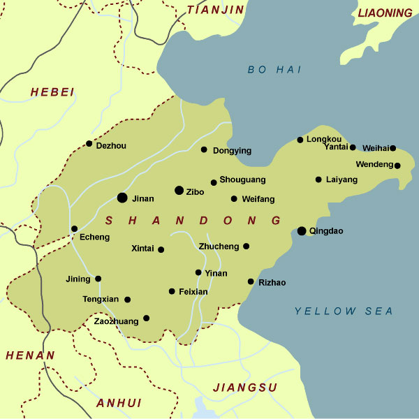 Shandong Map Shandong China Map Shandong Province Map - Yantai map