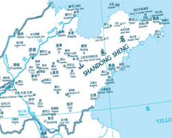 Map of Shandong Major Cities and Attractions
