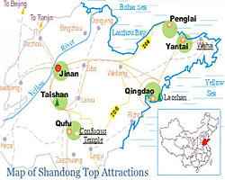 Location of Shandong Major Cities