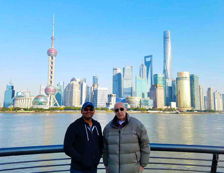 Tourists Took Photo at The Bund with Backdrop of Lujiazui