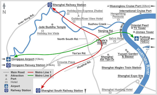 Downloadable and Detailed Maps of Shanghai Shanghai Subway Map – Shanghai Tourist Attractions Map
