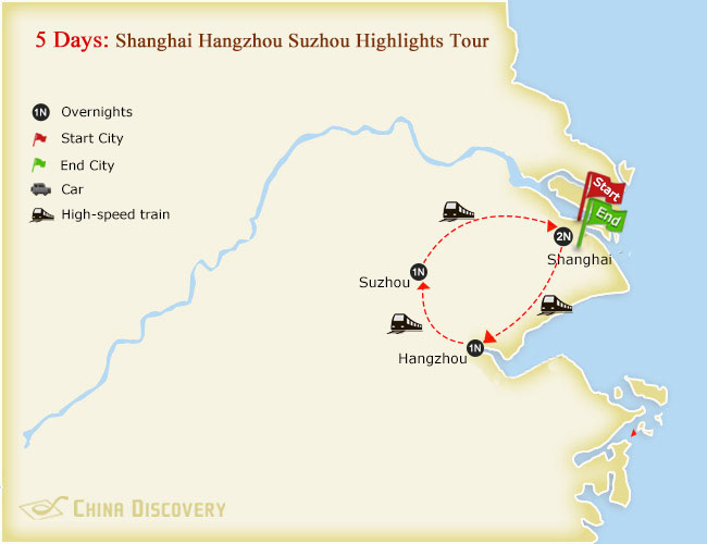 5 Days Shanghai Hangzhou Suzhou Highlights Tour