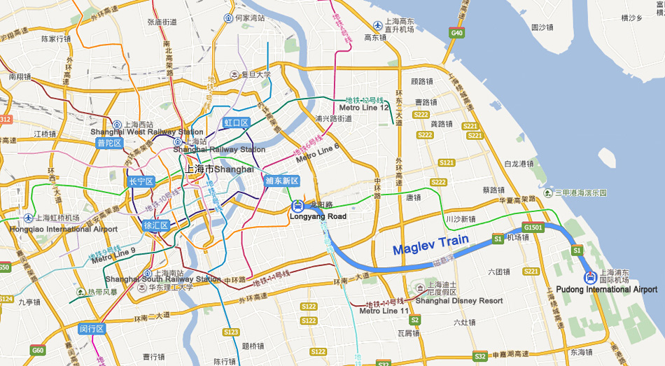 Shanghai maglev train stations prices speed map timetable shanghai maglev shanghai map gumiabroncs Gallery