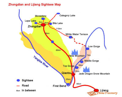 Map of Shangri-La & Lijiang