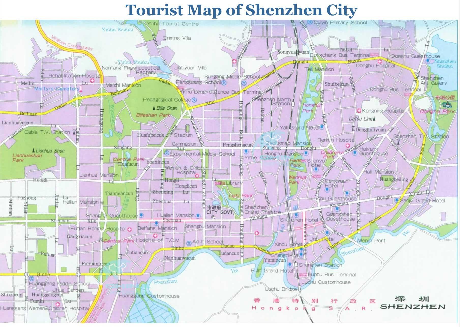 Shenzhen Maps detailed China Shenzhen Attraction
