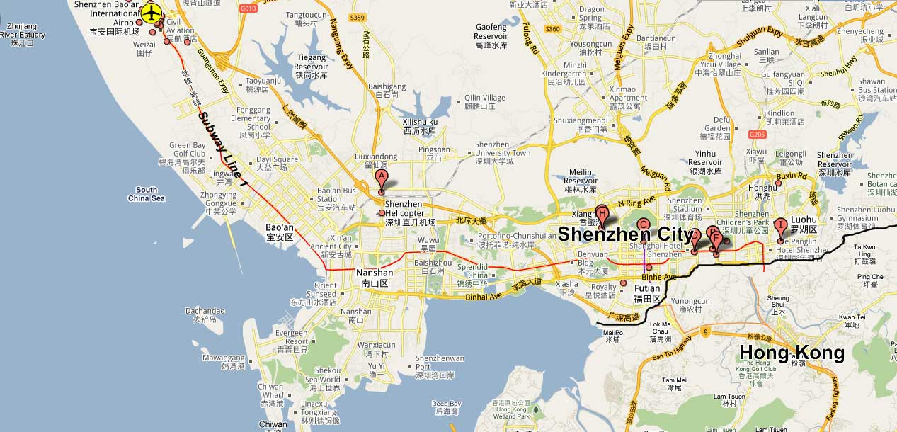Shenzhen maps detailed china shenzhen attraction shenzhen airport map gumiabroncs Choice Image