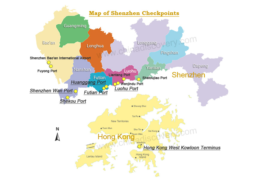 Map of Shenzhen Checkpoints
