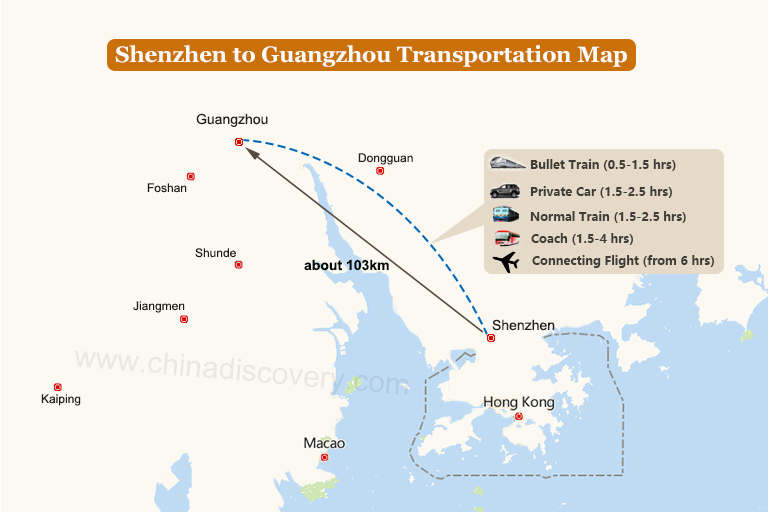Shenzhen to Guangzhou Transportation Map