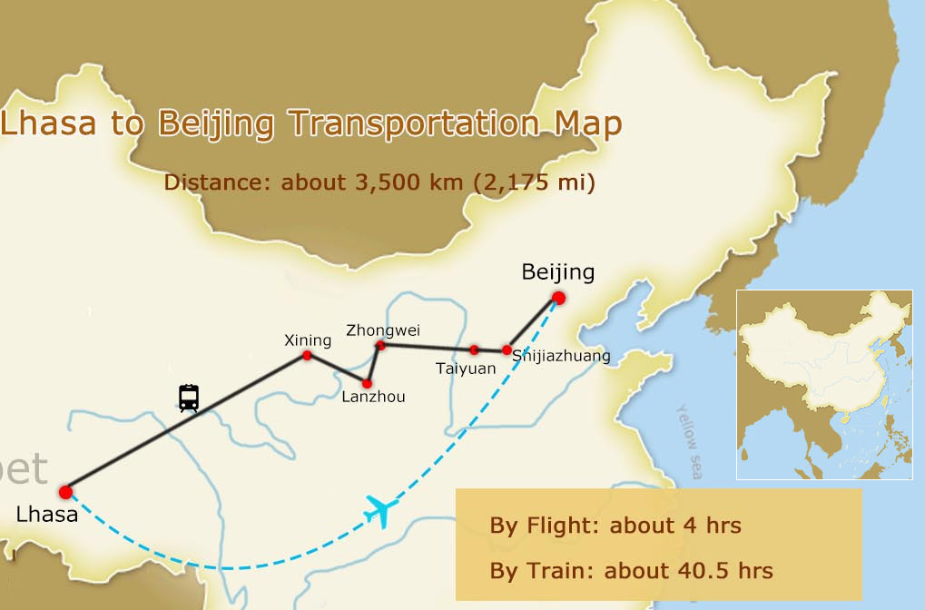 Lhasa to Beijing Map