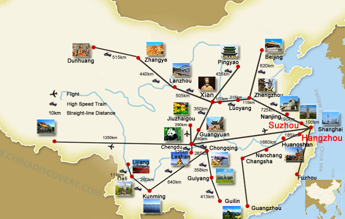 Hangzhou Suzhou China Travel Map