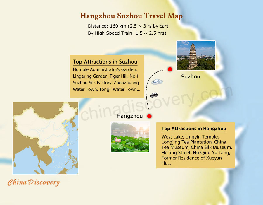 Hangzhou Suzhou Tours Map