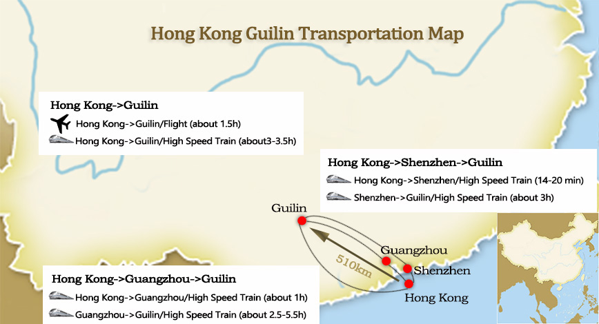 Hong Kong to Guilin Map