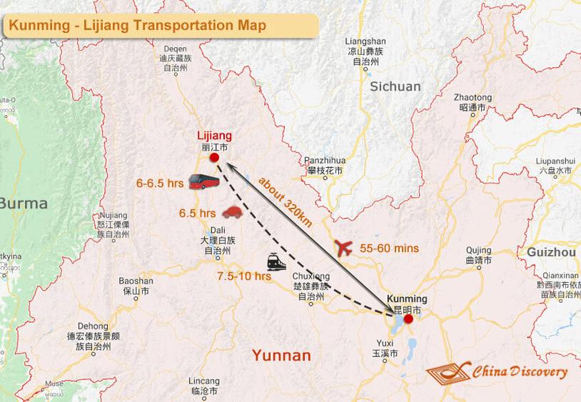 Kunming Lijiang Map