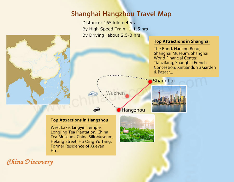 Shanghai Hangzhou Tours Map
