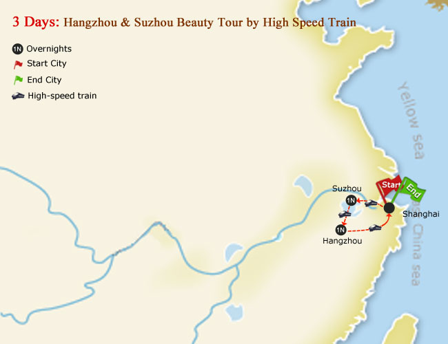 3 Days Hangzhou & Suzhou Beauty Tour Map