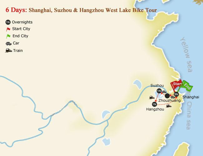 5 Days Shanghai, Suzhou & Hangzhou West Lake Bike Tour