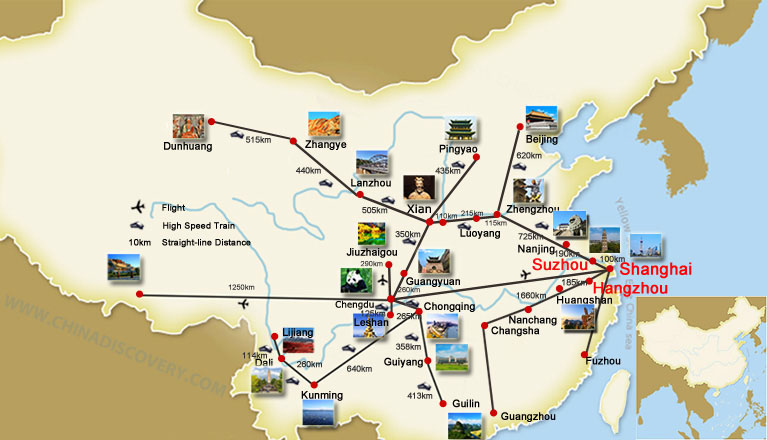 Shanghai Suzhou Hangzhou Travel Map