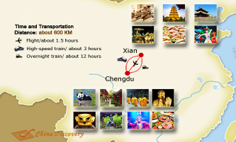 Xian Chengdu Travel Map