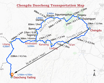 Chengdu to Daocheng Yading Map