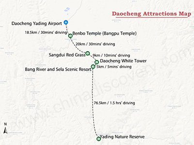 Daocheng Tourist Map