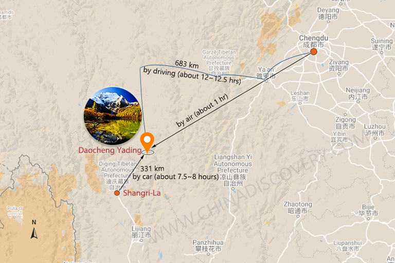 Daocheng Yading Transportation Map