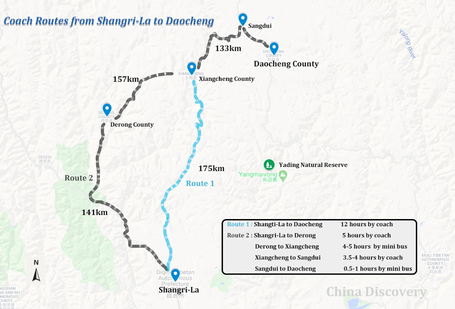 Shangri-La to Daocheng Map