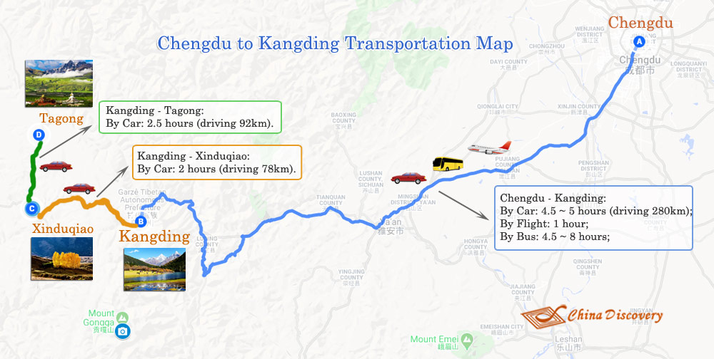 Chengdu to Kangding Map