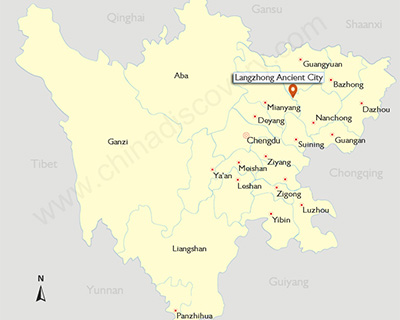 Location of Langzhong