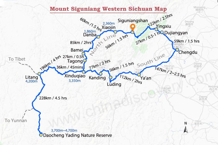 Chengdu to Mount Siguniang Map