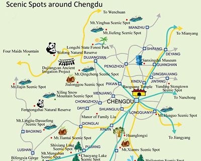 Map of Scenic Spots around Chengdu