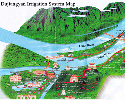 Dujiangyan Irrigation System Map