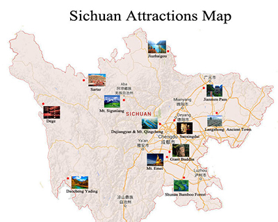 Sichuan Attractions Map