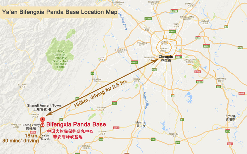 Bifengxia Panda Base - Bifengxia Location Map