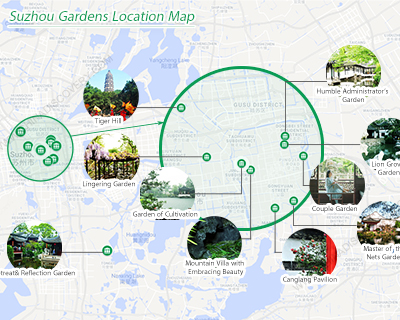 Map of Classical Gardens of Suzhou